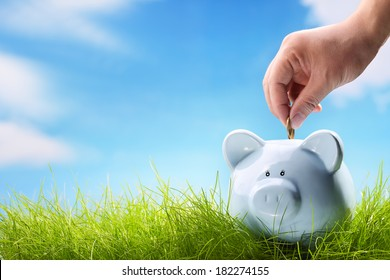 Coin bank sitting on grass with hand putting in a coin