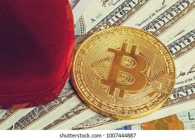 Coin bitcoin in a gift box for a ring or jewelry the concept of crypto currency the best gift