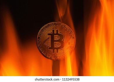 Coin bitcoin on fire.