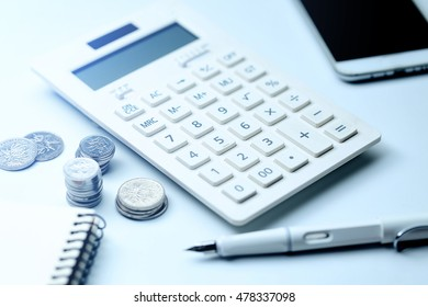 Coin calculator mobile phone business office supplies on the white background