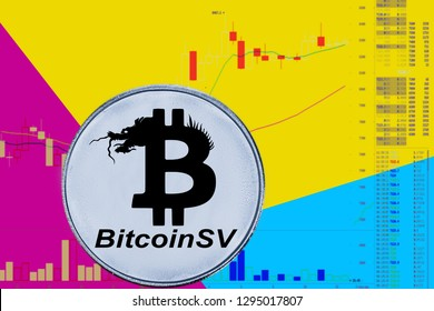 Coin cryptocurrency bitcon sv on chart and yellow neon background. BSV Satoshi Vision