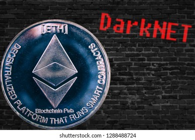 Coin cryptocurrency Ethereum  and old brick wall Darknet. ETH