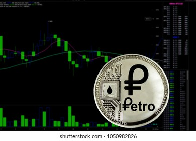 Coin cryptocurrency Petro on a background chart.