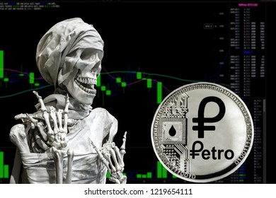 the Coin cryptocurrency Petro and skeletonon a background chart.