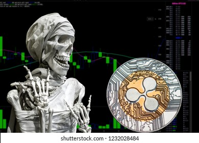 Coin cryptocurrency Ripple and skeletonon a background chart.