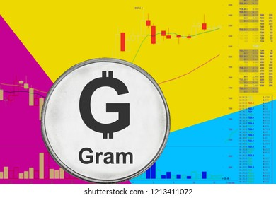 Coin cryptocurrency Ton Gram on  chart and yellow neon background.