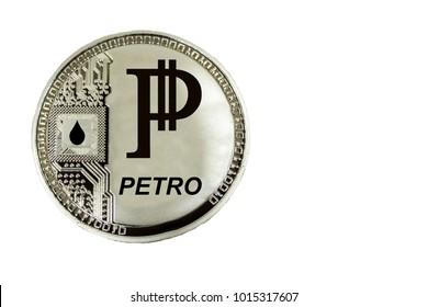 Coin Cryptocurrency Venezuela Petro on white background.