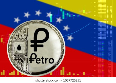 Coin Cryptocurrency Venezuela Petro on the background of the flag of Venezuela and chart.