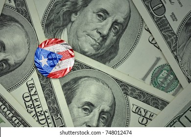 coin with dollar sign with national flag of puerto rico on the dollar money banknotes background. finance concept