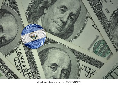 coin with dollar sign with national flag of el salvador on the dollar money banknotes background. finance concept