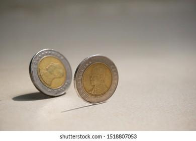 coin drop on the floor, closed up Thai ten Baht coins