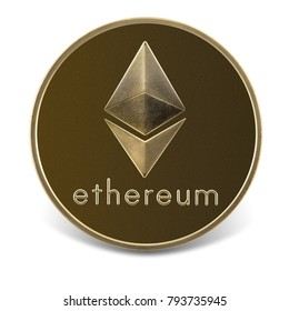 Coin with ethereum symbol, isolated on the white background, clipping path included.