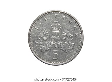 coin of Great Britain 5 pence