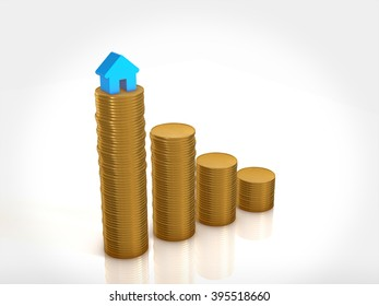 a lot of coin and house icon