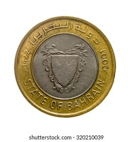 Coin hundred fils Bahrain isolated on white background. top view.avers