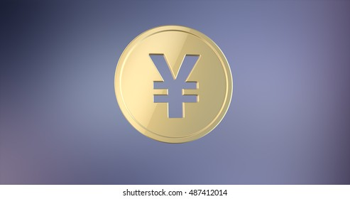 Coin Japanese Yen Gold 3d Icon on gradient background