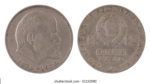 Coin with Lenin. Coin isolated on white - detailed closeup macro