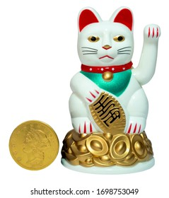 The coin like object held by Lucky Cat means 10 million gold pieces. A translation might go something like: Good Luck for you to become a millionaire. Lucky Cat is a symbol for good fortune.