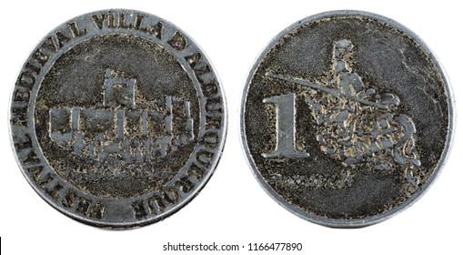 Coin minted for the Medieval Festival of Villa de Albuquerque. Extremadura. Spain.