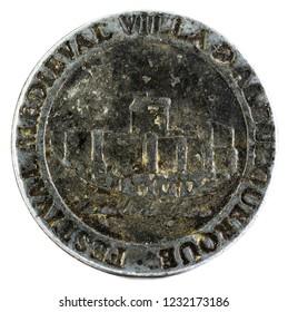 Coin minted for the Medieval Festival of Villa de Albuquerque. Extremadura. Spain. Obverse.
