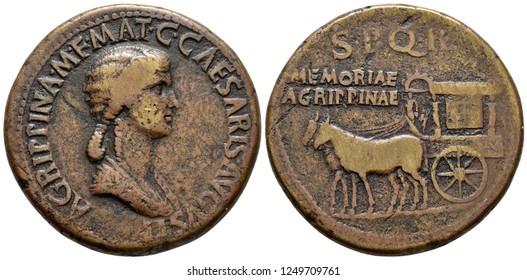 Coin, numismatic. AGRIPPINA Sesterce. 33 d.C. Roman coin