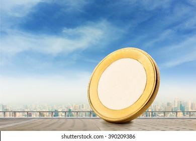 Coin on a balcony