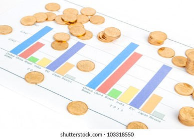 Coin on financial graph