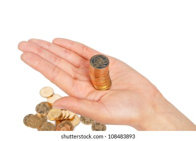 Coin on palm