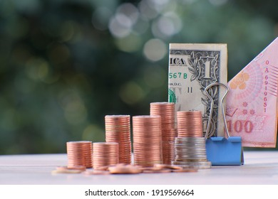 coin on table background and business or finance saving money