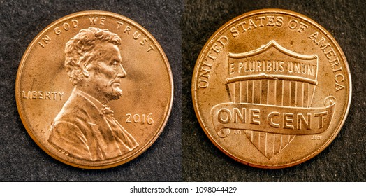 coin one cent american dollar of united states with the figure of Lincoln, front and back