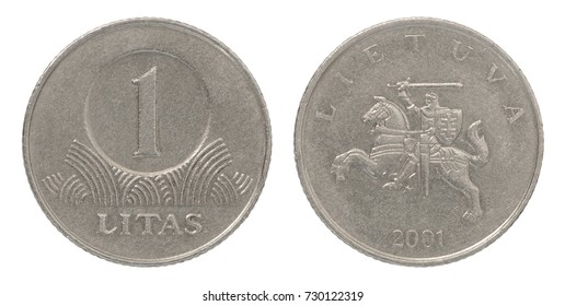 Coin one Lithuania litas isolated on white background