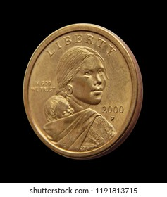 Coin one US dollar (Sacagawea Dollar) on a black background