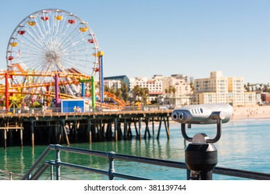 coin operated binoculars on santa monica pier, california