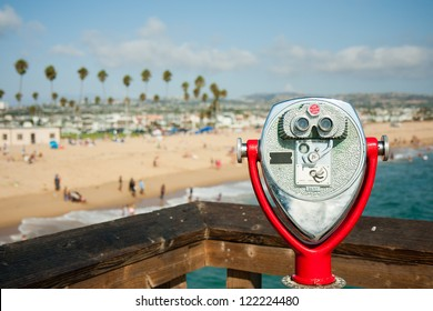 coin operated telescope at Newport Beach Pier