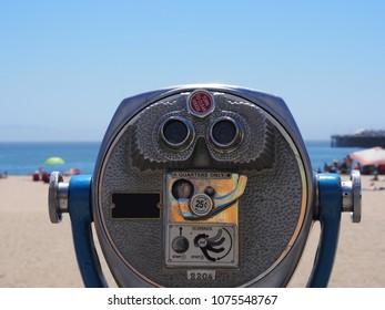 Coin Operated Tower Viewer, Tourist Pay Binoculars at the Beach, Centered with Sunny Beach Scene in Background at Santa Cruz California, USA