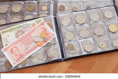 coin and paper bills collection