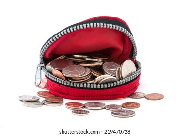Coin purse filled with coins