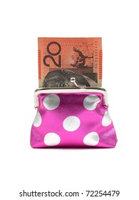 A coin purse isolated against a whitebackground