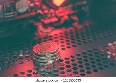 Coin Red light Circuits Black background