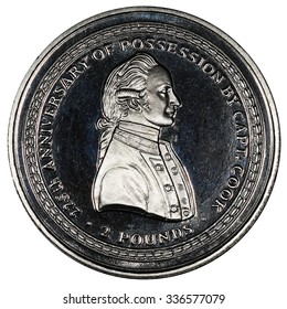 Coin South Georgia and South Sandwich Islands. 2 pounds. The coin depicts Captain James Cook