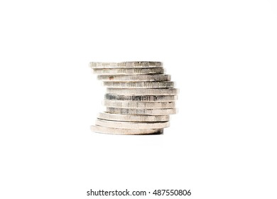 coin stack isolated on white