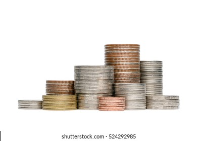 Coin stack isolated on white background