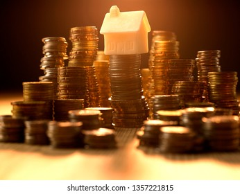 Coin stack, Saving, Investment money on property. Coin stack growing business.