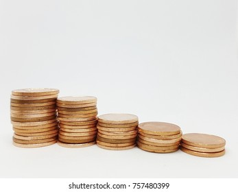 Coin stacked five column by concept graph for business financial or investment