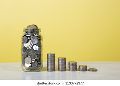 Coin stacking. Growth money concept.