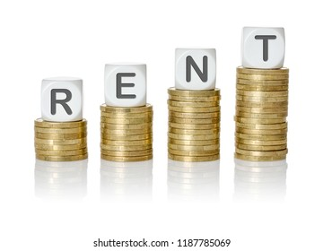 Coin stacks with letter dice - Rent