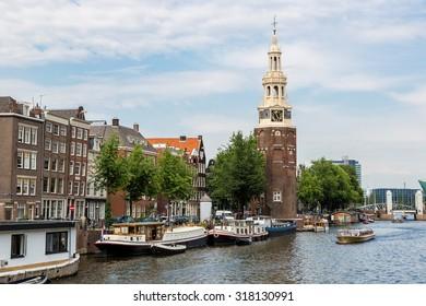 Coin Tower (Munttoren) in Amsterdam.  Netherlands in a summer day