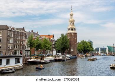 Coin Tower (Munttoren) in Amsterdam in a summer day, Netherlands