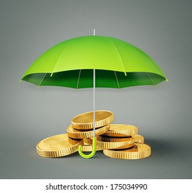 coin under umbrella isolated on a grey