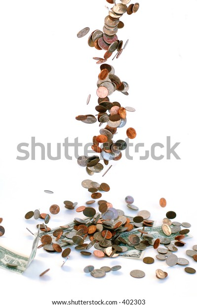 "coin ""waterfall"" - focus on table"